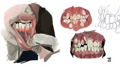 Teeth Drawing, Drawing Faces, Art Sketches, Art Drawings, Poses References, Drawing Reference Poses, Anatomy Reference, Creation Couture, Digital Art Tutorial