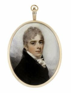 William Wood (British, 1769-1810) -  A Young Gentleman, wearing black coat and waistcoat, white frilled chemise and tied stock, his cropped hair lightly powdered