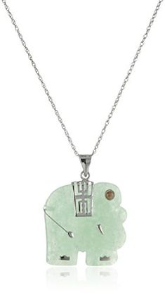 """Sterling Silver Green Jade Elephant Pendant Necklace, 18"""" Amazon Collection-$41.35 http://www.amazon.com"""