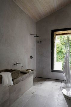 cement wood shower
