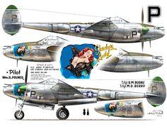 P-38L-5-LO, s/n 44-26412, 'Shady's Lady', coded 'P', flown by 1st Lt. William R. Pruner of 80th FS / 8th FG, Ie Shima, Ryukyu Islands, August 1945.
