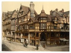 Chester Rows (by Detroit Publishing Co., under license from Photoglob Zürich) - Historical photograph of The Cross and Rows, Chester, Cheshire, England 1890 - 1900 CE. First Color Photograph, Cheshire England, Medieval Houses, Old Pictures, Places To See, The Row, Beautiful Places, Scenery, Around The Worlds