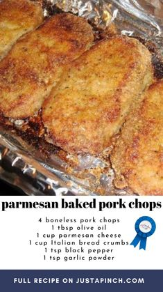 Pork Chop Recipes, Meat Recipes, Chicken Recipes, Cooking Recipes, Baked Parmesan Pork Chops, Baked Pork Chops, Pork Dishes, Food To Make, Yummy Food