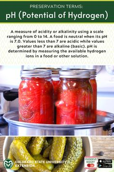 Learn more about pH and other food preservation terms by visiting the link! Food Safety, Preserving Food, Preserves, A Food, Ph, Salsa, Colorado, Nutrition, Link