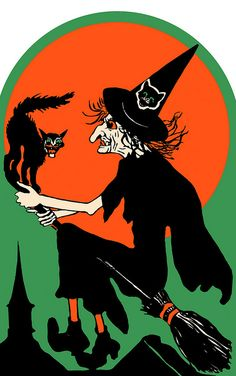 Witch Over the City die-cut Halloween decoration.