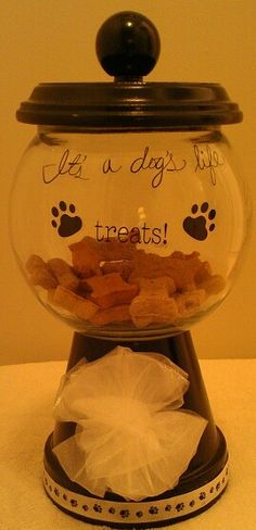 Dog Amp Cat Treat Jars Made From Clay Pots Amp Glass Bowls