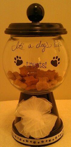 Our Dog Treat Decorative Container. Terra Cotta Pot, Tray, Decorative Knob & A Fish Bowl.