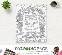 Coloring Page Printable Bible Verse Proverbs 3:5 Trust in The Lord Instant Download Kids Coloring Pages Printable Bible Quote Art Therapy