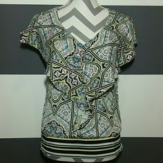 Lovely springtime top Lovely top with ruffle detail down the center and around shoulders. Playful print. Pairs perfectly with white pants or shorts and heels. Band around the bottom as elastic banding on the sides.   Good condition,worn only twice Size xs Brand attention 100% polyester Multi color print attention Tops Blouses