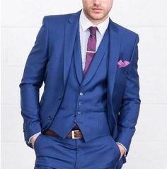 Dark Blue 3 Pieces Wedding Suits for Men 2 Buttons Groom Tuxedos Business Formal Suit (Jacket+Pants+vest+tie) Mens Suits