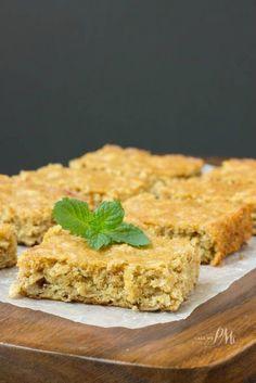 Homemade Peanut Butter Oatmeal Breakfast Blondies like dessert for breakfast except nutritious!
