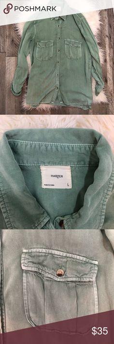 EUC! Green Denim Shirt Excellent used condition Harper green denim jean button up shirt Soft and luxurious feeling! Anthropologie Tops Button Down Shirts