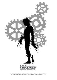 Edward Scissorhands Poster - By Declan. Eduardo Scissorhands, Black And White Posters, Tim Burton, Shirt Ideas, House Ideas, Cinema, Inspiration, Character, Awesome