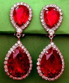 VINTAGE COSTUME ESTATE ANTIQUE JEWELRY EARRINGS! Ruby Red Large ...