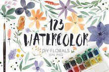 123 DIY Watercolor Flowers (EPS,PNG)