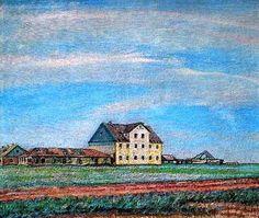 Une maison dans la steppe, huile sur toile de David Burliuk (1882-1967, Ukraine)