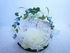 Porte alliance mariage Quelque chose de bleu jasmin pivoine fleur artificielle (deco-071) : Accessoires de maison par fleur-angelique
