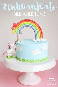 Eine Einhorntorte mit Einhorn und Regenbogen aus Fondant + Confettiregen. Die Anleitung dazu findest du auf meinem Blog http://www.vertortelt.de