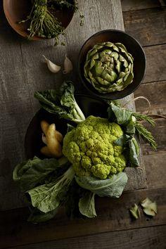 Cauliflower and artichoke by Lew Robertson