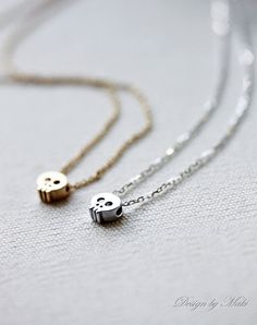 Mini Gold or Silver Skull Necklace Gold by MakiYDesign on Etsy, $25.00