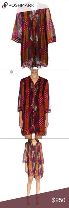 Diane Von Furstenberg Layla Silk Chiffon Dress Diane von Furstenberg tribal Layla dress size 8. Silk chiffon button down dress With sheer 3/4 sleeves. Vibrant colors are absolutely gorgeous and complement your skin tone. Runs true to size 8. I'm almost tempted to keep this one 👀 Diane Von Furstenberg Dresses Midi