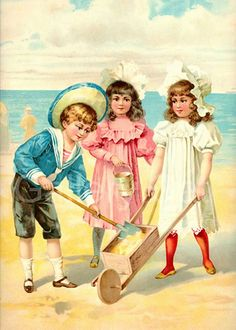 Victorian Children at the Beach Digital Collage by GalleryCat, $3.70