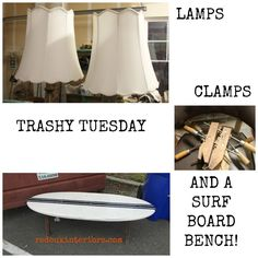 Trashy Tuesday.  Weekly Dumpster Diving Series.  This week found for Free or in a dumpster.  Lamps, wood furniture clamps, metal clamps and a surfboard bench!  Plus tons more dumpster diving and free stuff tips REDOUXINTERIORS.COM FACEBOOK: REDOUX #redouxinteriors #ouiredoux #dumpsterdiving #dumpsterdivingtips #trashytuesday
