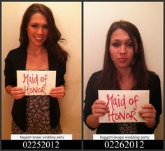 bridal party mugshots - ingenious & so much fun! #bachelorette #party #bridesmaids #bride #wedding before & after photos of a night out on the town!