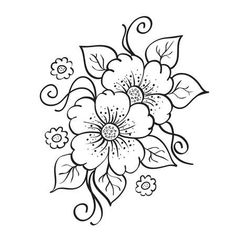 Illustration of Abstract hand drawn flowers, sketch, stencil. vector art, clipart and stock vectors. Flower Pattern Drawing, Flower Art Drawing, Flower Sketches, Floral Drawing, Embroidery Flowers Pattern, Hand Embroidery Designs, Flower Patterns, Henna Drawings, Pencil Art Drawings
