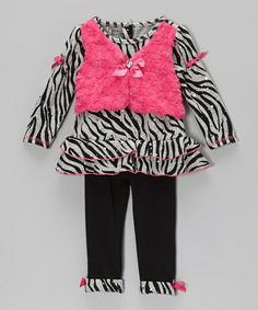 Loving this Black & Pink Zebra Layered Top & Leggings - Infant & Toddler on #zulily! #zulilyfinds