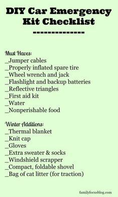 Roadside Emergency Kit, Emergency Preparedness Kit, Family Emergency, Survival Prepping, Survival Gear, Survival Skills, Wilderness Survival, Winter Car Emergency Kit, Survival Shelter
