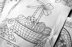 Happy Easter.!!. Free coloring pages for kids...   Hand drawn..fun filled...and free!!
