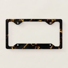 Elegant Marble style3 - Black Gold License Plate Frame - marble gifts style stylish nature unique personalize
