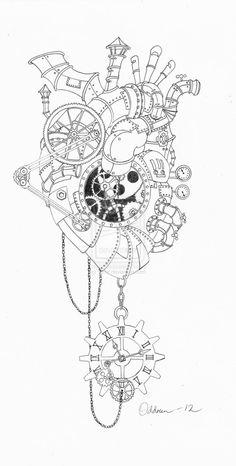 Steampunk heart of Vitnir, Steampunk Drawing, Steampunk Kunst, Steampunk Artwork, Adult Coloring Book Pages, Coloring Books, Coloring Pages, Colouring, Art Sketches, Art Drawings