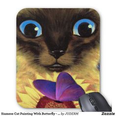 Siamese Cat Painting With Butterfly - Multi Mouse Pad