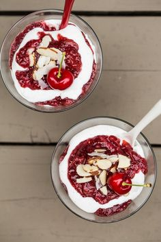 Cherry-Strawberry Chia Seed Fool with Vanilla Bean Coconut Whipped Cream