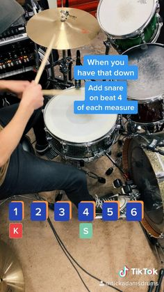 Beginner drum lesson teaching a basic drum beat in 6/8 time signature in 20 seconds Music Lessons For Kids, Music Lesson Plans, Drum Lessons, Lessons Learned, Drum Sheet Music, Drums Sheet, Learn Drums, How To Play Drums, Drum Patterns