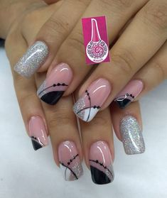 Manicure Nail Designs, Nail Manicure, Pretty Nail Art, Beautiful Nail Art, Sparkle Nails, Glitter Nails, Hot Nails, Pink Nails, Airbrush Nails