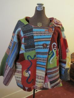 Needle felted sweater jacket by freddasusan75069, via Flickr