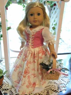 "RESERVED - LAUREEN ** Pink French Regency or Colonial Doll Dress to fit your 18"" American Girl Doll by Emmakate0 on Etsy"