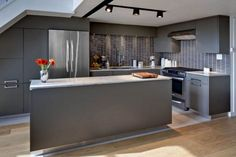 See beautiful pictures of Loft kitchen ideas. Select the desired option of Loft kitchen ideas and do a redesign of its premises. Modern Grey Kitchen, Grey Kitchen Walls, Contemporary Kitchen Cabinets, Loft Kitchen, Kitchen Units, Kitchen Cabinet Design, Modern Kitchen Design, Interior Design Kitchen, Kitchen Designs