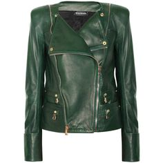 Balmain Leather jacket ($5,110) ❤ liked on Polyvore featuring outerwear, jackets, coats, balmain, leather, double zipper jacket, leather jackets, real leather jackets and green leather jacket