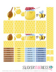 Free Printable Organic Honey Planner Stickers from StickerCuteness