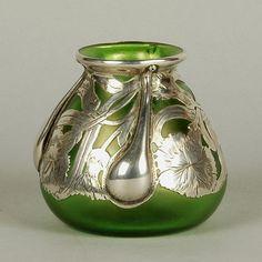 ❤ - Loetz | Silver Teardrop Vase - 1890.