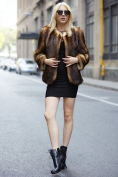 @roressclothes closet ideas #women fashion outfit #clothing style apparel Coffee Faux Fur Coat
