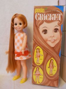 Cricket Doll vintage with her box! I wanted her but I didn't get her.  We weren't allowed to play with our dolls hair