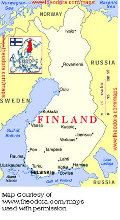 This map of Finland shows all the major cities Finland Map