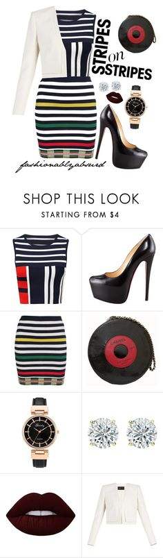 """vertically horizontal"" by fashionablyabsurd ❤ liked on Polyvore featuring Christian Louboutin, Opening Ceremony, Chanel, Lime Crime, BCBGMAXAZRIA, stripesonstripes and PatternChallenge"