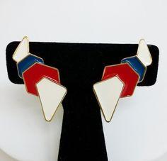 Vintage Monet Memphis Modern Enamel Clip Earrings Gold Tone Big 1980s Patriotic #Monet #Cluster