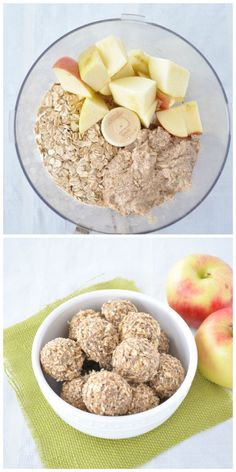 Super easy and healthy apple almond energy bites. Only sweetened with fruit.,Healthy, Many of these healthy H E A L T H Y . Super easy and healthy apple almond energy bites. Only sweetened with fruit. A great pre or post workout snack. Whole Food Recipes, Vegan Recipes, Snack Recipes, Cooking Recipes, Healthy Dessert Recipes, Easy Desserts, Diet Desserts, Cooking Pork, No Dairy Recipes